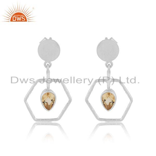 Natural Citrine Gemstone Handmade 925 Sterling Fine Silver Earring