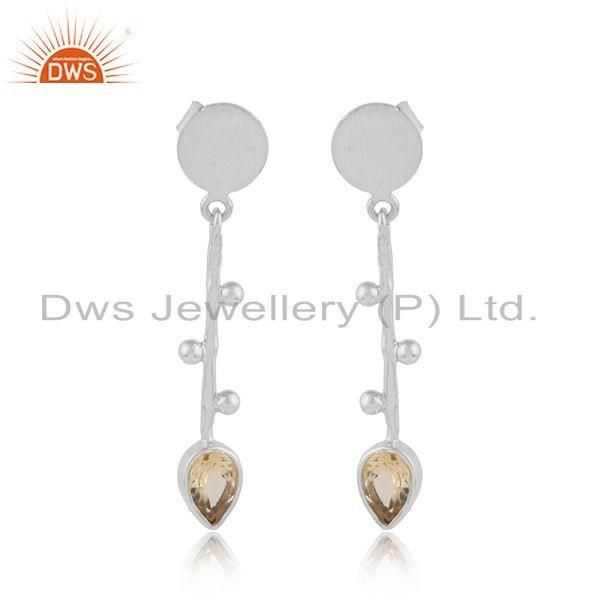 Handmade Design Sterling Silver Designer Citrine Gemstone Earrings