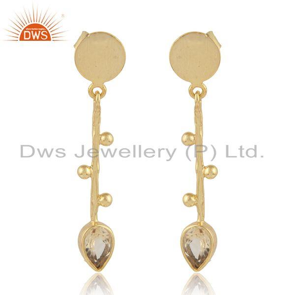Handmade Gold Plated 925 Silver Citrine Gemstone Earrings Jewelry