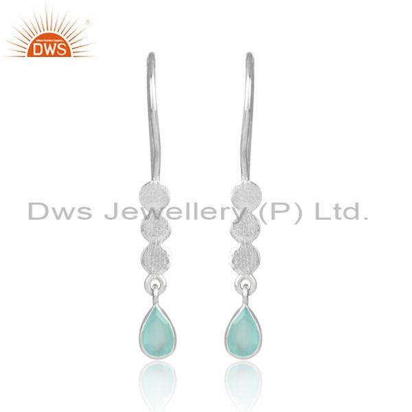 Aqua chalcedony set white rhodium on silver long earrings