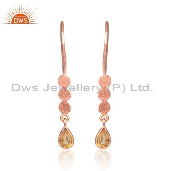 Citrine set rose gold on silver long drop designer earrings