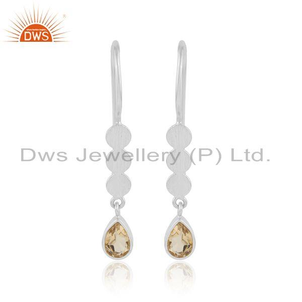 Drop Design 925 Sterling Silver Natural Citrine Gemstone Earrings
