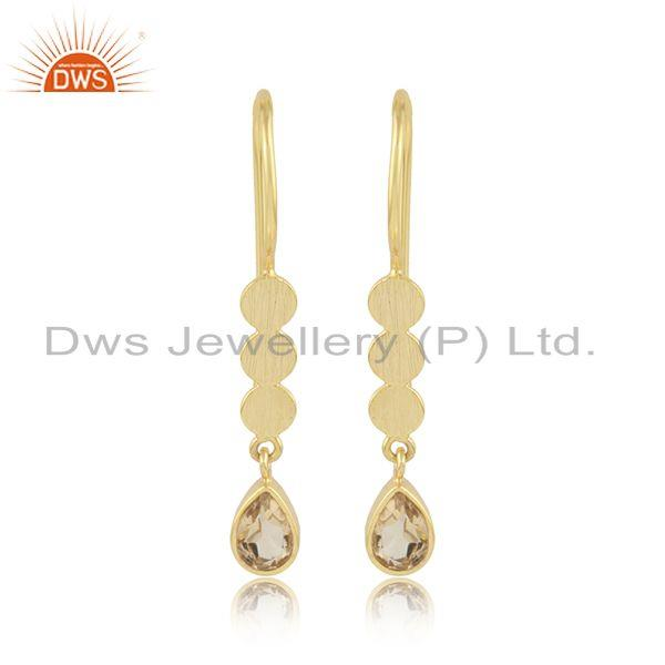 Drop Design Gold Plated 925 Silver Citrine Gemstone Earrings