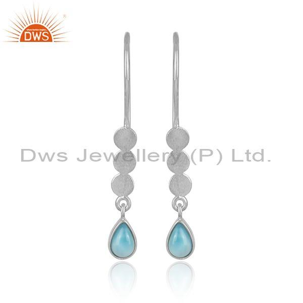 Larimar set white rhodium on silver long designer earrings
