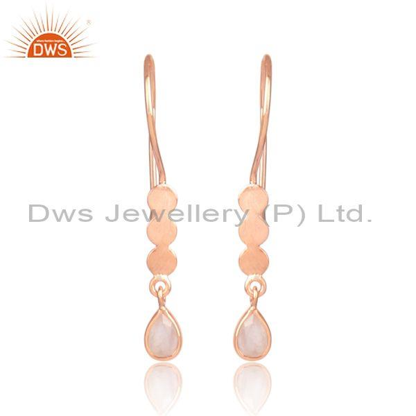 Rose quartz rose gold on silver long drop designer earrings
