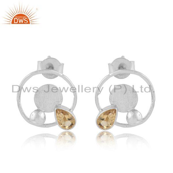Round design 925 sterling fine silver citrine gemstone earrings
