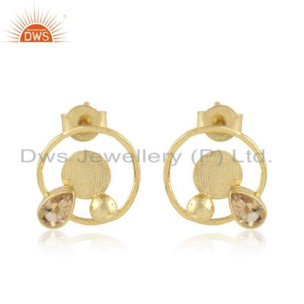 Round Design Gold Plated 925 Silver Citrine Gemstone Stud Earrings