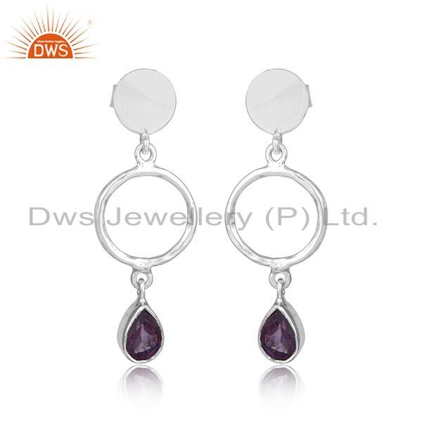 Handmade Designer Silver 925 Earring Dangle with Amethyst