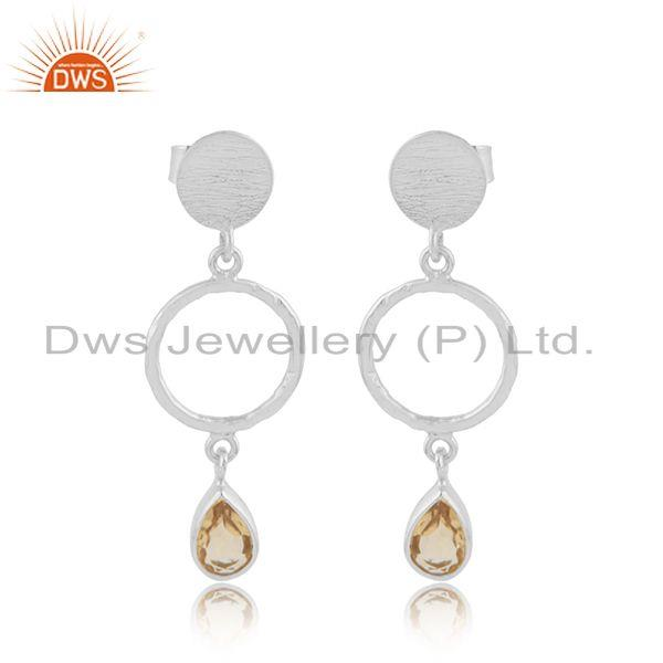 New sterling fine silver natural citrine gemstone earring jewelry