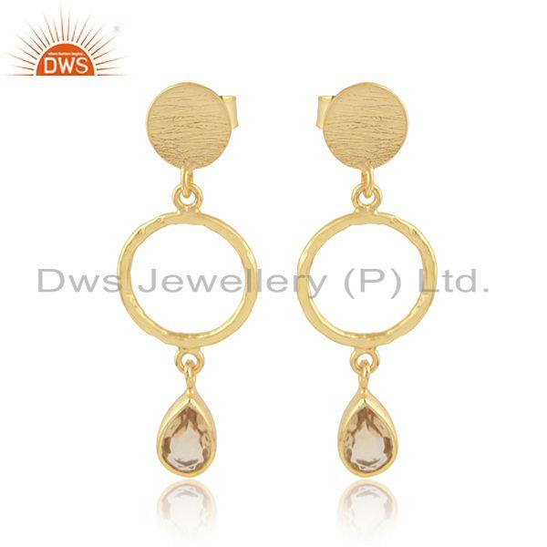 Womens Designer Gold Plated Silver Citrine Gemstone Dangle Earring