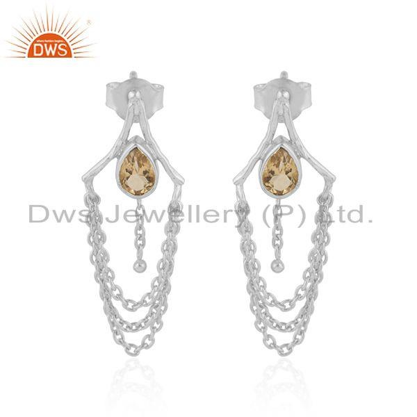 Natural Citrine Gemstone Designer Sterling Silver Chandelier Earring