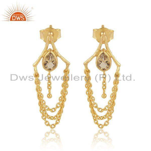 Yellow Gold Plated Silver Citrine Gemstone Chain Dangle Earrings