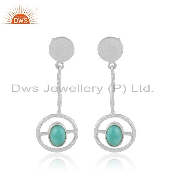 Womens 925 sterling fine silver arizona turquoise gemstone earrings