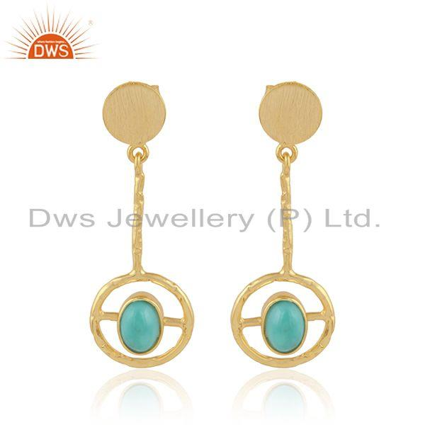 Arizona Turquoise Gemstone Designer Gold Plated 925 Silver Earrings