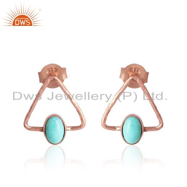 Arizona turquoise gemstone designer silver rose gold plated studs