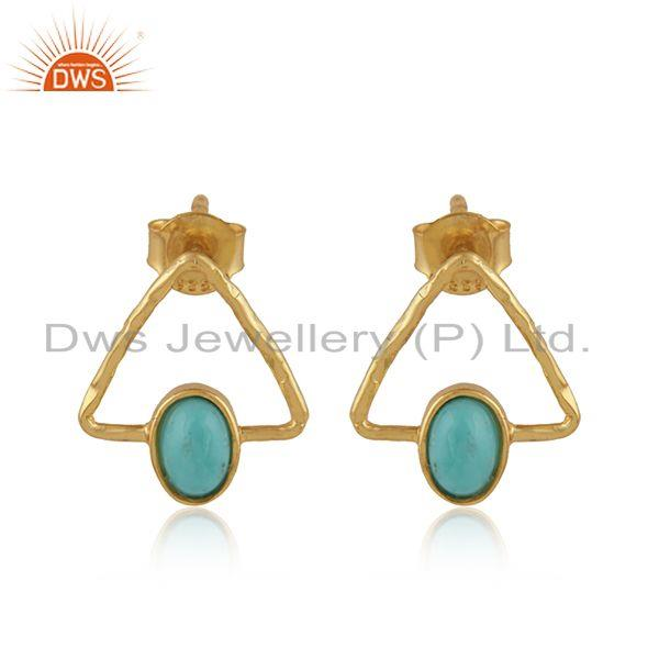 Arizona turquoise gemstone designer silver gold plated earrings