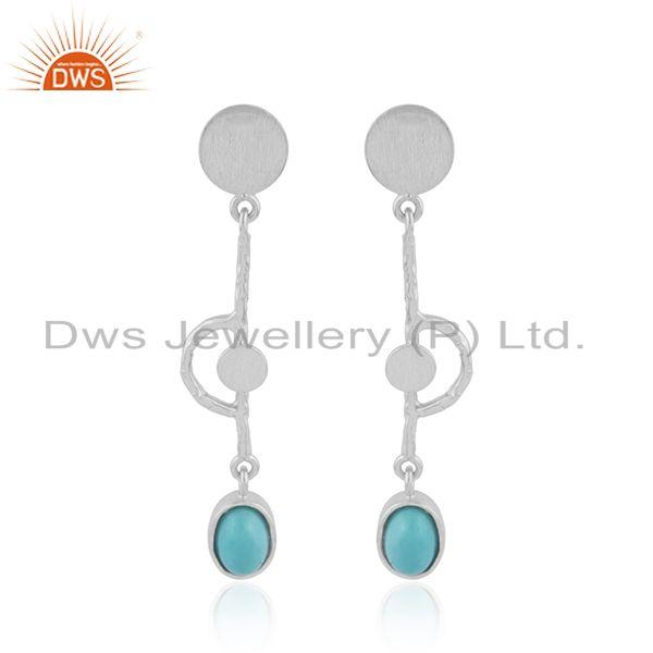 Arizona Turquoise Gemstone Handmade Sterling Fine Silver Earring