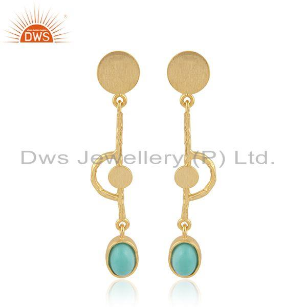 Handmade 18k Gold Plated Silver Designer Arizona Turquoise Earrings