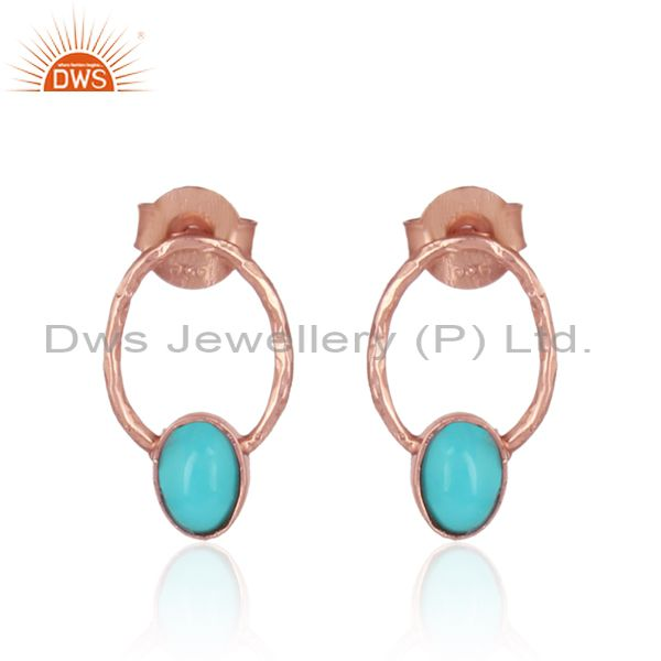 Arizona Turquoise Dainty Designer Studs in Rose Gold On Silver