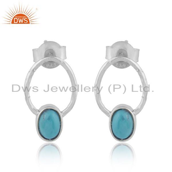 Designer sterling silver arizona turquoise gemstone womens earrings