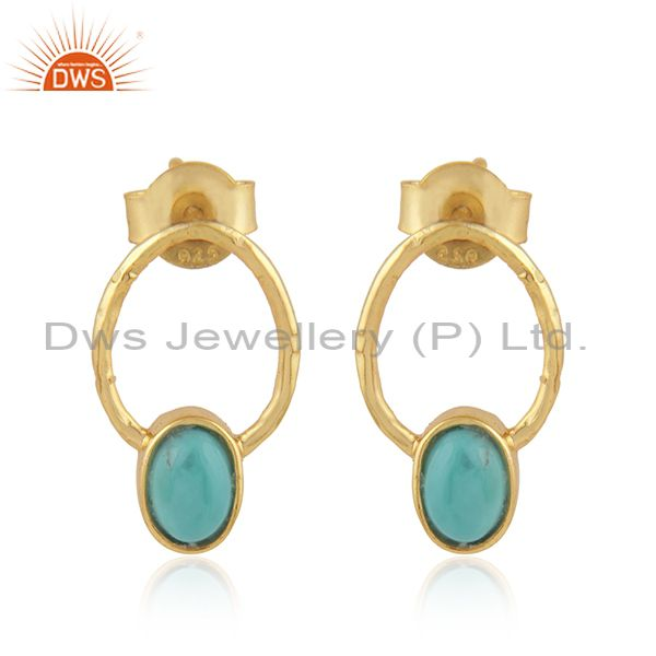 Dangle Design Gold Plated 925 Silver Arizona Turquoise Earrings