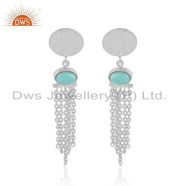 Designer 925 Sterling Silver Arizona Turquoise Chandelier Earrings