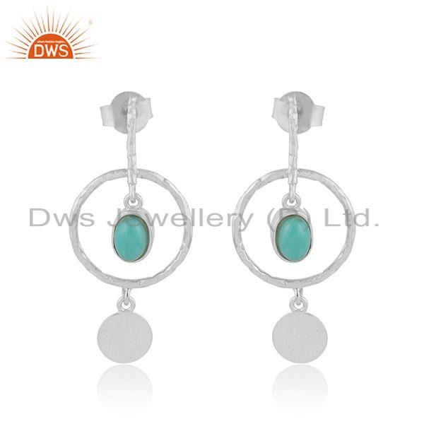 Arizona Turquoise Designer 925 Sterling Fine Silver Dangle Earrings