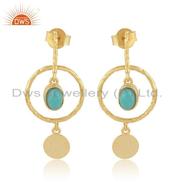 Designer dangle gold plated 925 silver arizona turquoise earrings