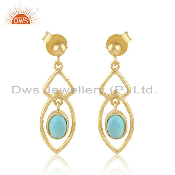 Handmade Yellow Gold Plated Silver Arizona Turquoise Earrings