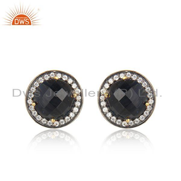 Blue Corundum Gemstone CZ Gold Plated Round Silver Stud Earrings