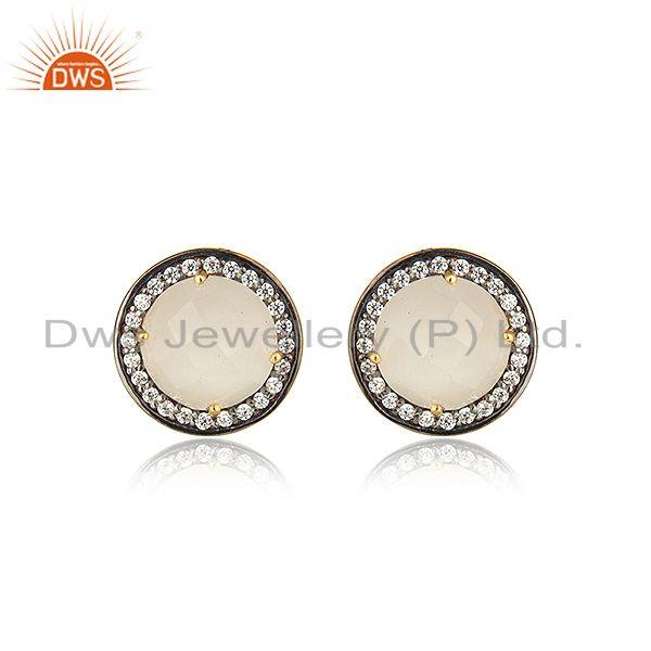 White Moonstone CZ Gemstone Gold Plated Silver Stud Earrings