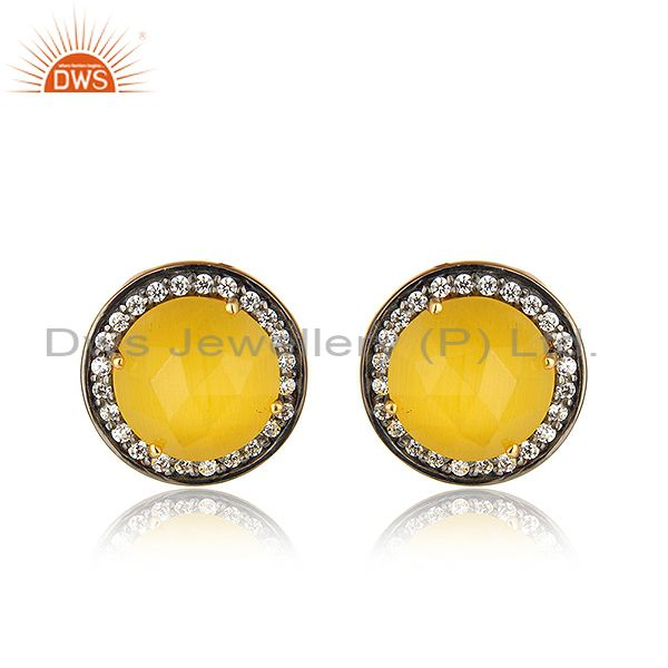 Round Gold Plated Silver CZ Yellow Moonstone Gemstone Stud Earring