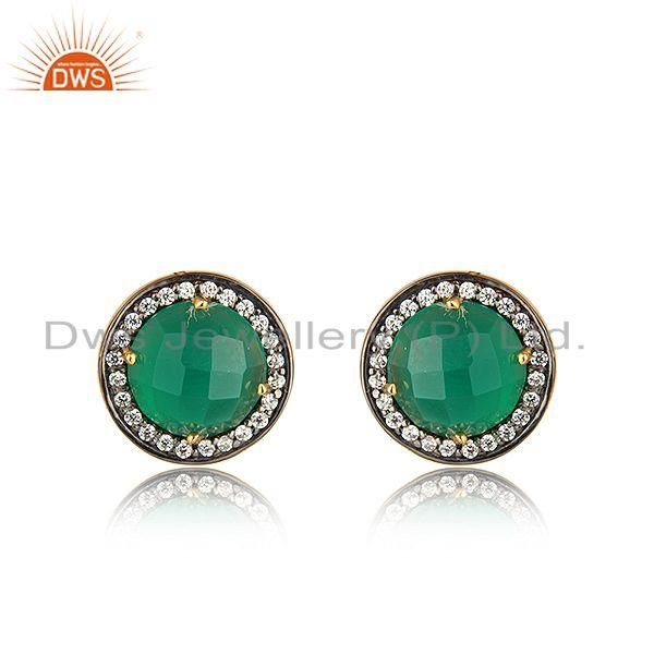 CZ Green Onyx Gemstone Round Gold Plated Silver Stud Earrings