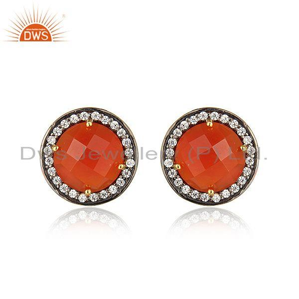 Zircon Red Onyx Gemstone Gold Plated Silver Womens Stud Earrings
