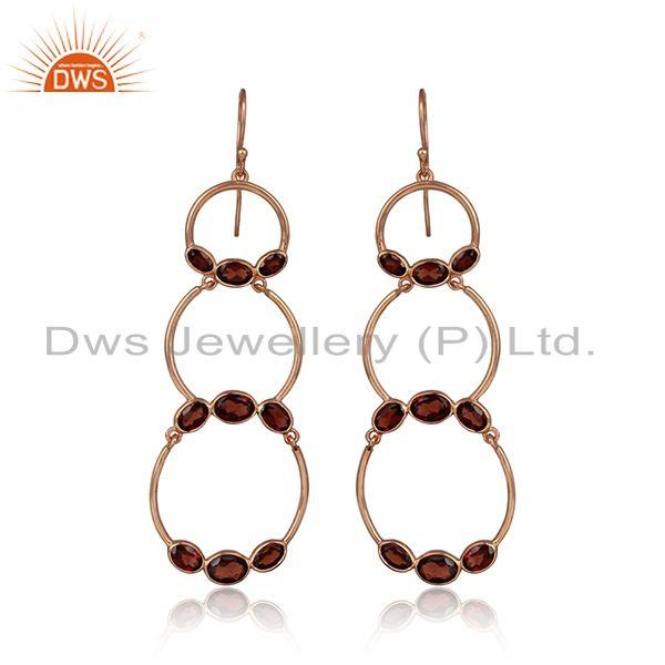 Rose gold plated circle design 925 silver garnet gemstone earrings