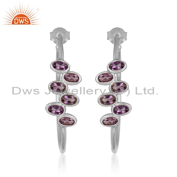 Naturl amethyst gemstone designer sterling silver hoop earrings