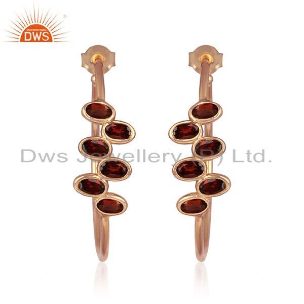 Rose gold plated 925 silver garnet gemstone womens hoop earrings