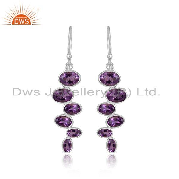 New 925 sterling fine silver amethyst gemstone earrings jewelry