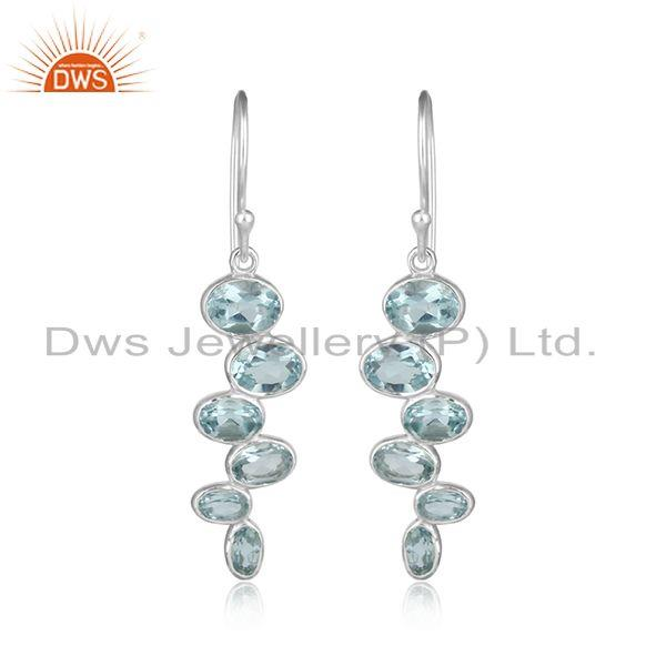 New 925 Sterling Fine Silver Blue Topaz Gemstone Earrings Jewelry