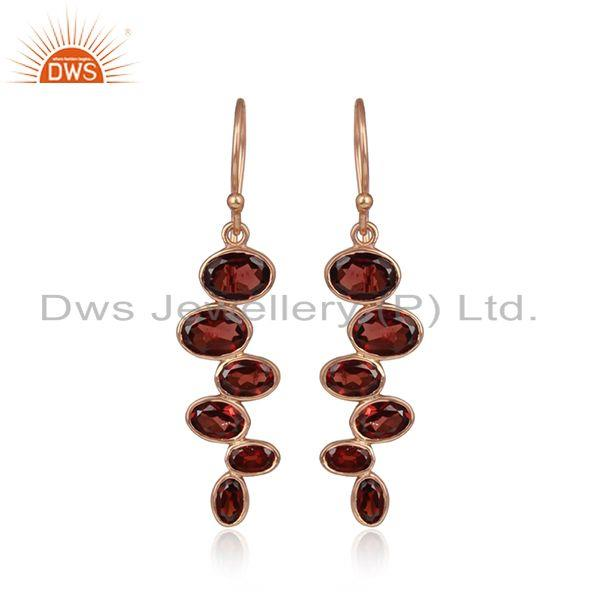 Natural Garnet Gemstone Rose Gold Plated 925 Silver Earrings