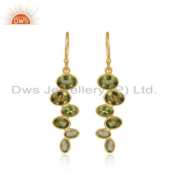 Designer Gold Plated 925 Silver Peridot Gemstone Earrings Jewelry