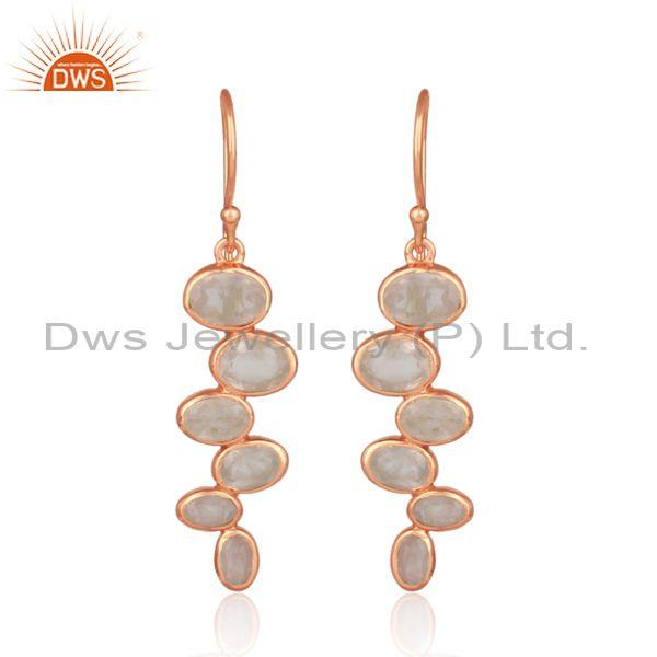 Handmade Rose Quartz Set Rose Plated Silver Long Earrings
