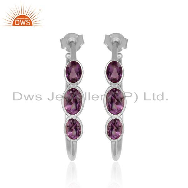 Designer 925 sterling fine silver amethyst gemstone hoop earrings