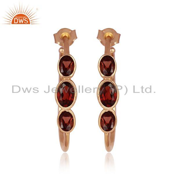 Natural garnet gemstone rose gold plated designer silver earrings