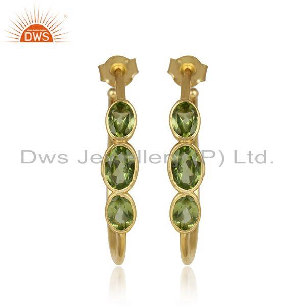 New peridot gemstone designer yellow gold plated silver earrings