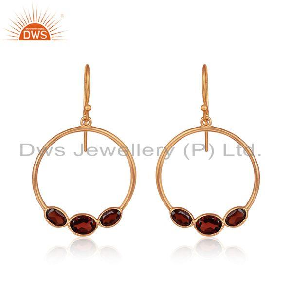 Natural garnet gemstone rose gold plated handmade silver earrings