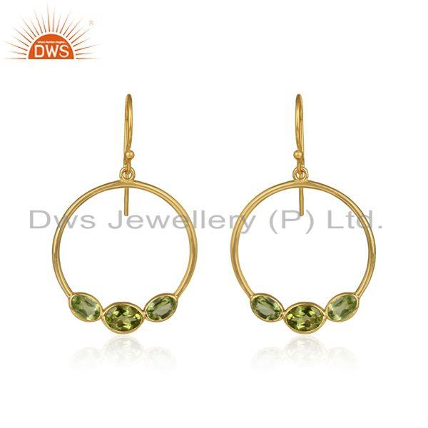 Disc design gold plated 925 silver peridot gemstone earring jewelry