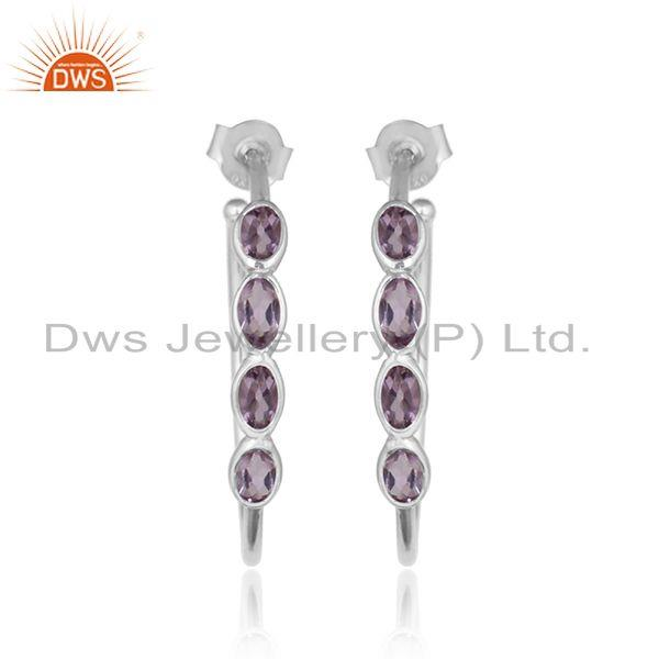 Natural amethyst gemstone 925 fine silver designer girls earrings