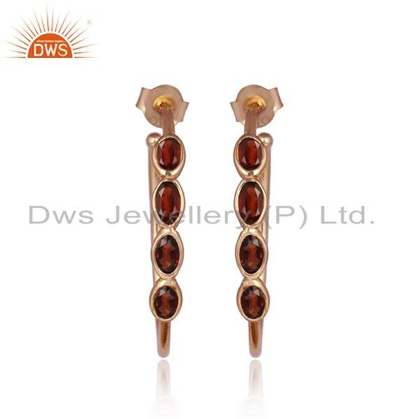 Rose gold plated silver designer naturel garnet gemstone earrings