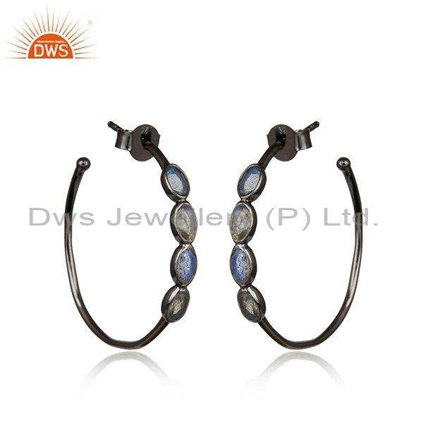 Labradorite Set Black On Silver Handmade Round Hoop Earrings